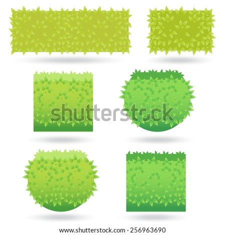 Bushes icons different colors-02 - stock vector