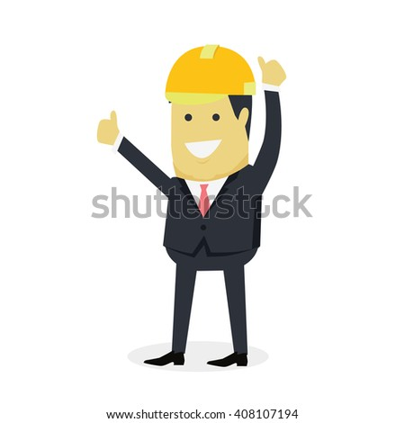 Businesman show gesture thumb up. Young successful investor man in helmet do business hand gesture shows good job isolated on white background. Approval of praise and agreement. Vector illustration - stock vector
