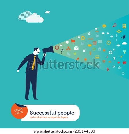 Businesman with megaphone and icons. Vector illustration Eps10 file. Global colors. Text and Texture in separate layers.  - stock vector