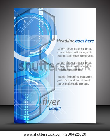 Business A4 booklet cover, flyer brochure design with technological pattern/design with place for your content or creative editing, print, publishing or presentation/vector illustration - stock vector