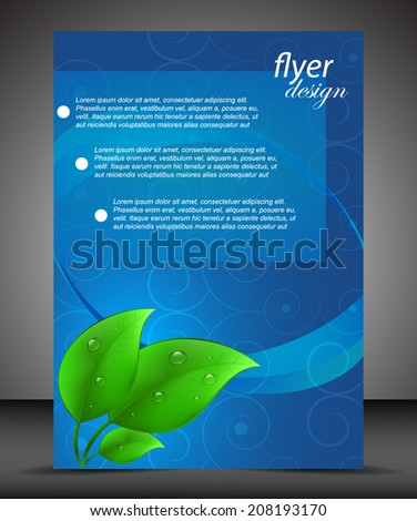 Business A4 booklet cover with green leaves and water drops, flyer brochure design/design for print, publishing or working presentation with place for your content - stock vector