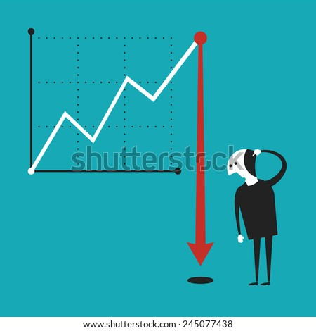 Business activity decline vector concept in flat cartoon style - stock vector