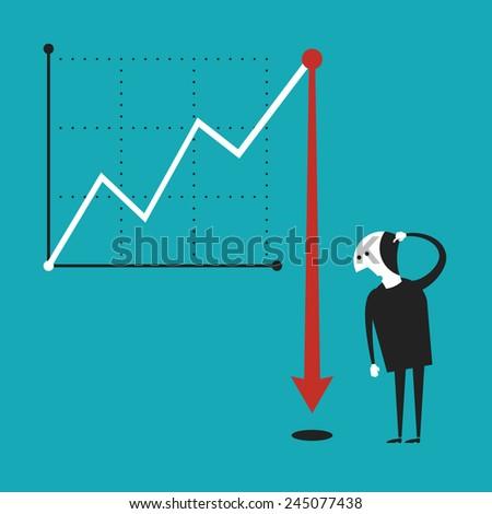 Business activity decline vector concept in flat cartoon style - stock vector