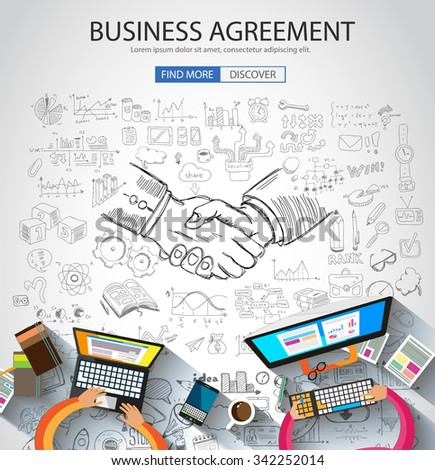 Business Agreement concept wih Doodle design style :finding solution, brainstorming, creative thinking. Modern style illustration for web banners, brochure and flyers. - stock vector