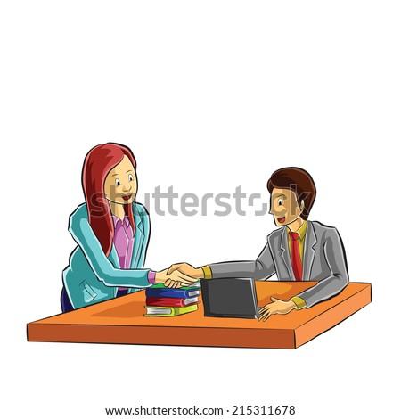 business agreement with handshake  - stock vector