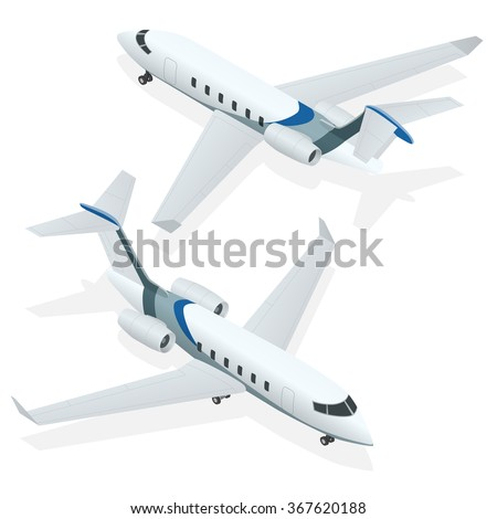 Business aircraft, Corporate jet, Private jet, Airplane passenger plane, Airplane icon, Airplane freight, Airplane isolated Airplane isometric Airplanes, Airplane vector Airplane taking off, Air plane - stock vector