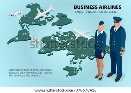 Business airlines, Planes flying around the globe. Flat 3d isometric vector illustration. - stock vector