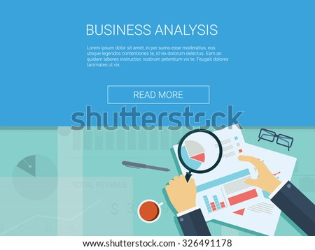 Business analysis background with magnifying glass, graphs and charts. Analytics report vector infographics. Eps10 vector illustration. - stock vector