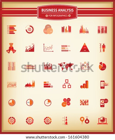 Business Analysis concept,36 icons,for infographics design,Red version,Vintage style,vector - stock vector