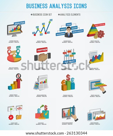 Business Analysis concept icons,three dimension design,Clean vector - stock vector