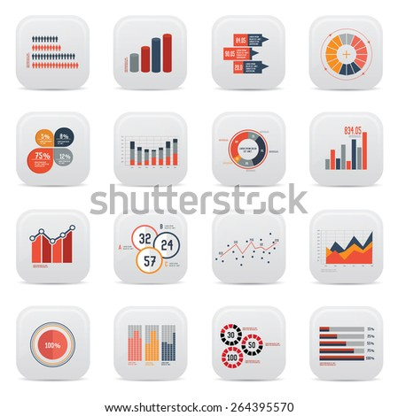Business analysis icons on white background,clean vector - stock vector