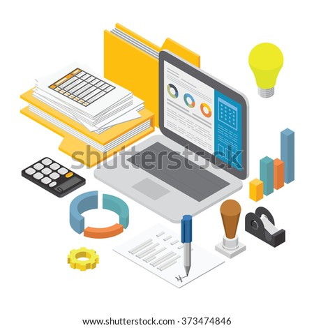 Business Analysis Report Analyze Flat 3D Stock Vector 373474846