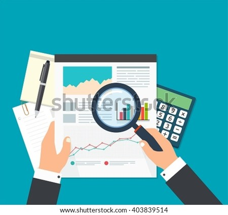Business analyst, financial data analysis. Businessman with magnifying glass is looking financial reports. - stock vector