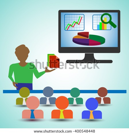 Business Analyst/Man Presenting the Reports,charts and graphs and showing the data analytics , also represents business people Looking the presentation of the financial report & Data analysis Graph. - stock vector
