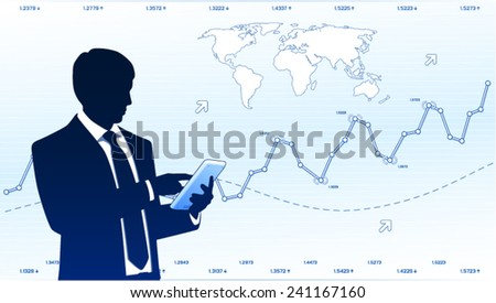 Business analyst with tablet computer - stock vector