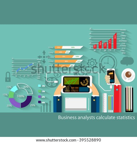 Business analysts calculate statistics - stock vector