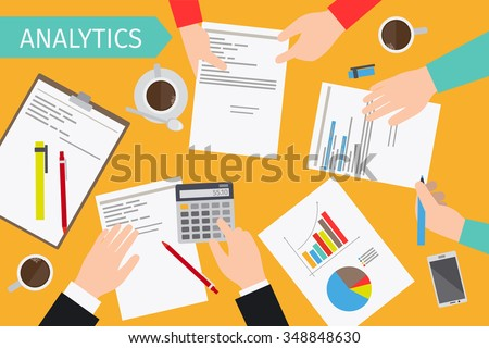 Business analytics and financial audit. Brainstorm and calculations. Vector illustration.  - stock vector