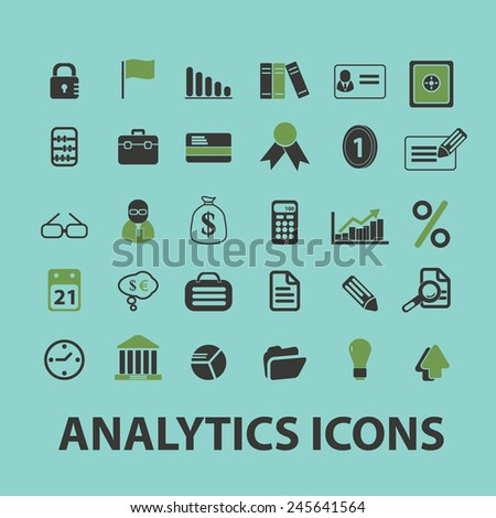 business analytics, presentation, bank, financial web icons, signs, illustration isolated on background set, vector - stock vector
