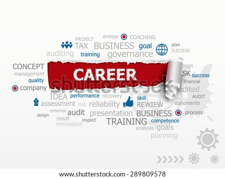 Business And Career Word Cloud. Design illustration concepts for business, consulting, finance, management, career. - stock vector