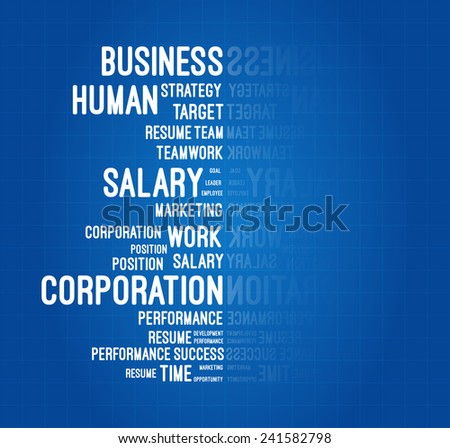 Business And Career Word Cloud On Blueprint - stock vector