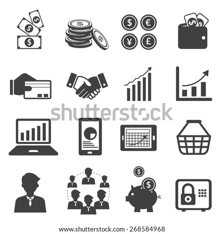 Business and E Commerce Mono Icons Set, Business Marketing Banking Finance and Money - stock vector