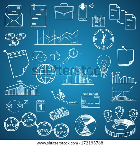 Business and Economy, Finance, Web and Internet doodle hand drawn elements and icons - stock vector