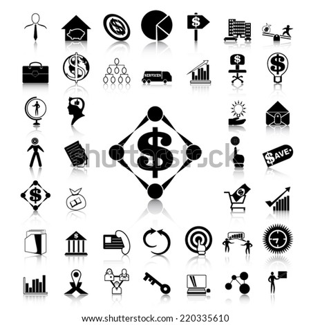 Business and Finance black icons - stock vector
