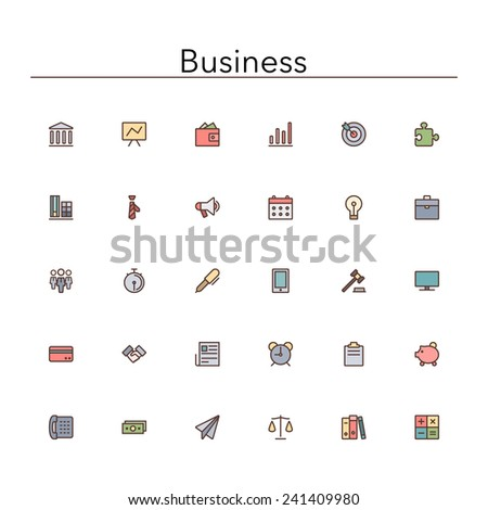 Business and finance colored line Icons set. Vector illustration. - stock vector