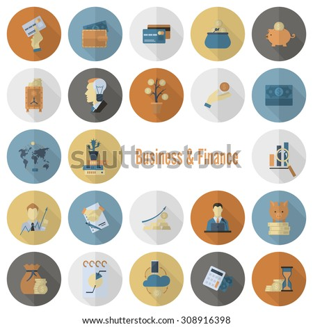 Business and Finance, Flat Icon Set. Simple and Minimalistic Style. Vector - stock vector