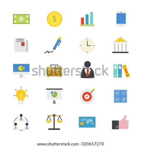 Business and Finance Flat Icons color - stock vector