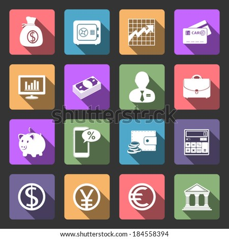Business and Finance flat icons set - stock vector