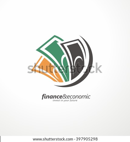 Business and finance icon, abstract bills, currency - stock vector