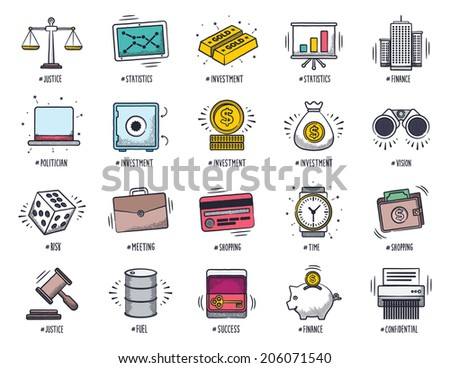Business and finance icon set. Vector doodle illustrations. - stock vector