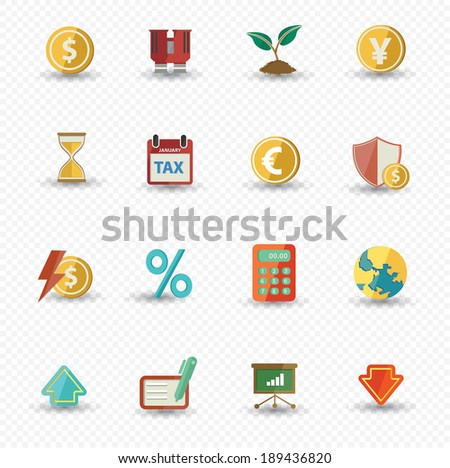 Business and Finance icons,Colorful version,vector - stock vector