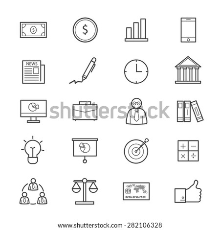 Business and Finance Icons Line - stock vector