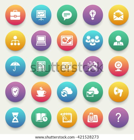 Business and finance icons on color stickers.