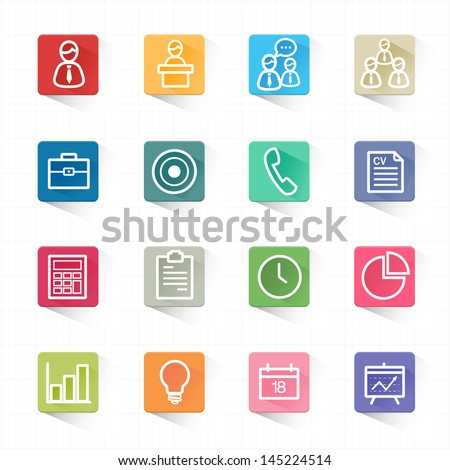 Business and finance icons set and white background - stock vector