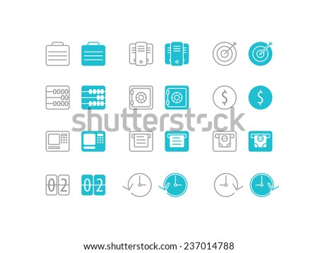 Business and Finance Icons Set for web site mobile app application. Simple Flat Metro design style vector illustration - stock vector