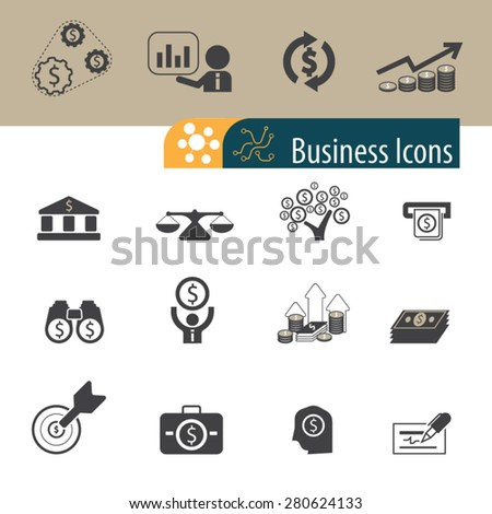 Business and Finance Icons set,Vector