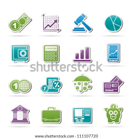 Business and finance icons - vector icon set - stock vector