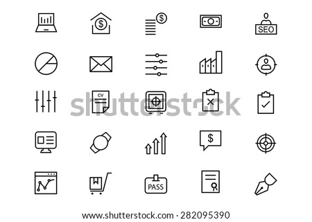 Business and Finance Line Vector Icons 3 - stock vector