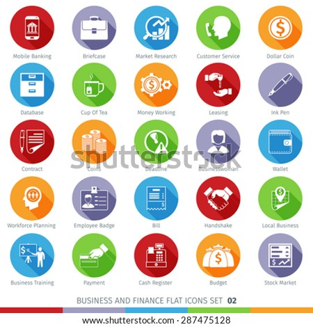 Business and Finance Long Shadow Flat Icons Set 02 - stock vector