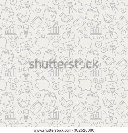 Business and finance seamless pattern. Background with line icons for business theme. Vector illustration. - stock vector