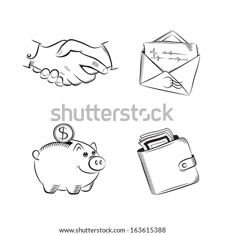 Business and finance sketch vector set - stock vector