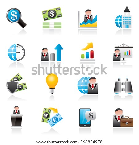 Business and Finance Strategies  Icons  - vector icon set - stock vector