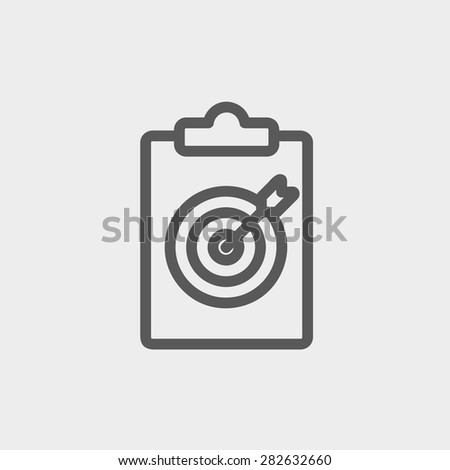 Business and finance target icon thin line for web and mobile, modern minimalistic flat design. Vector dark grey icon on light grey background. - stock vector