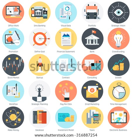 Business and finance theme, flat style, colorful, vector icon set for info graphics, websites, mobile and print media. - stock vector