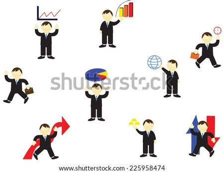 Business and finance vector illustrations stock market.stock icon.flat icon.finance icon. stock market.stock people.stock graph.stock pile graph.statistic graph.bull market.bear market.stock crisis. - stock vector