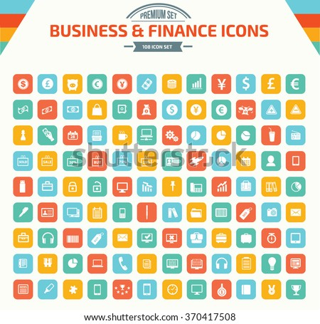Business and financial Icon set,clean vector - stock vector