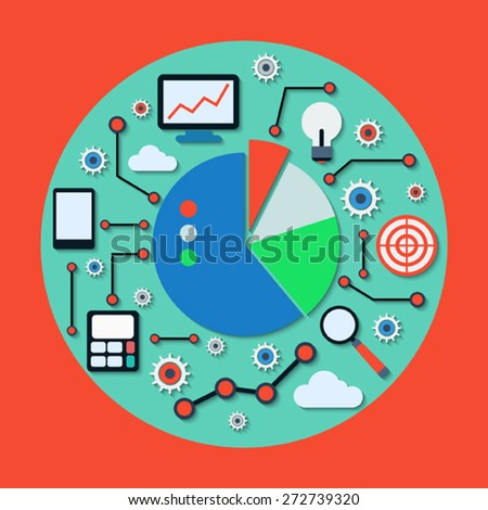 Business and financial information analysis concept. Flat design style vector icons collection. - stock vector